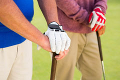 Golfing friends standing and holding clubs Stock Images