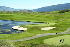 Golfing Golf Course Canada BC. Scenic golf course in Vernon, British Columbia stock photos