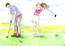 Golfing. Hand painted Watercolor Illustration «Golfing Royalty Free Stock Images