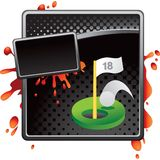 Golfing hole in one on black halftone ad Stock Photos
