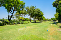 Golfing. Landscape view from a golf course tee box Royalty Free Stock Images
