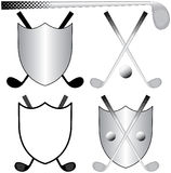Golfing Logos. Several Golfing Logos with Clubs, Ball and Shields Royalty Free Stock Images