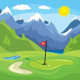 Golfing in the mountains. An vector illustration of a golf green with mountains in the background Stock Image