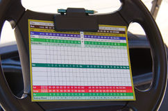 Golfing score card on golf cart steering wheel. A colorful golfing scorecard clipped to the steering wheel of a golf cart Royalty Free Stock Photo