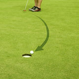 Golfing. Straight to the goal. Arrow made of balls Royalty Free Stock Photo