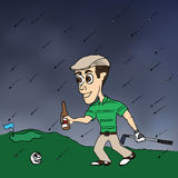 Golfing Weather. A golfer happily strides forward with beer in hand despite the falling rains Stock Images