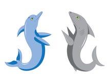 Golfinho e tubarão. ilustração do vetor