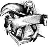 Golfinho em torno de uma âncora com uma corda, um símbolo antigo do mar, ilustração ilustração do vetor