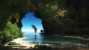 Golfinho em uma caverna escondida ilustração stock