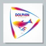 Golfinho luxuoso do arco-íris do logotipo da imagem Para projetar cartão, folhetos, bandeiras, logotipos, projetos criativos Foto de Stock