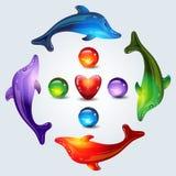 Golfinhos brilhantes Fotos de Stock Royalty Free