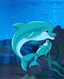 Golfinhos da natação ilustração do vetor