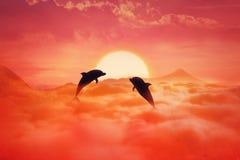Golfinhos do voo Fotos de Stock