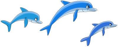 Golfinhos dos desenhos animados. ilustração royalty free