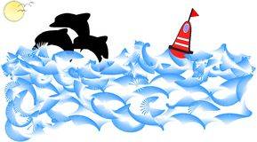 Golfinhos que jogam no oceano ilustração royalty free