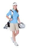 Golfista con un bolso de clubs fotografía de archivo