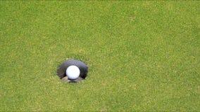 Golfista de la c?mara lenta que pone la pelota de golf en el agujero almacen de metraje de vídeo