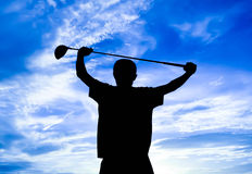 Golfista de la silueta Imagen de archivo libre de regalías