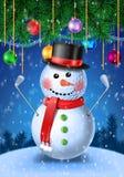 Golfista del muñeco de nieve con hierros stock de ilustración