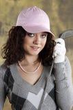 Golfista femenino Imagen de archivo libre de regalías