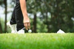 Golfista que coloca la pelota de golf en camiseta en un día soleado en el curso Fotografía de archivo