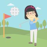 Golfista que golpea el ejemplo del vector de la bola Imagen de archivo