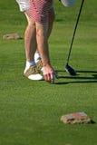 Golfista que junta con te hasta mecanismo impulsor Fotografía de archivo libre de regalías
