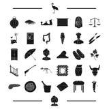 Golfista, stewardesa i inna sieci ikona w czerni, projektujemy przestępstwo, sztuk ikony w ustalonej kolekci royalty ilustracja