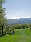 Golfista y montaje el Etna Foto de archivo libre de regalías