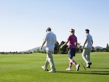 Golfistas que caminan en campo de golf Imagen de archivo libre de regalías
