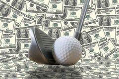 Golfjärn, en golfboll och oss dollar Arkivbilder