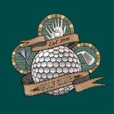 Golfklubb golfbanavektorlogo Royaltyfria Bilder
