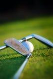 Golfklubb och boll royaltyfri foto