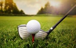 Golfklubb och boll i gräs Royaltyfri Fotografi