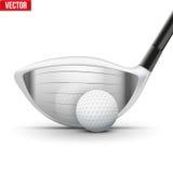 Golfklubb och boll just nu av inverkan Arkivbild