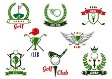 Golfklubbemblem och symboler med modiga objekt vektor illustrationer