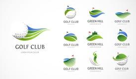 Golfklubbsymboler, symboler, beståndsdelar och logosamling vektor illustrationer