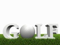 Golfkonzept auf grünen gras Stockfotografie