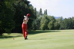 golfladyswing Arkivbild