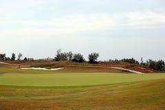 Golflekplats - grönt gräs Fotografering för Bildbyråer