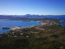 View of Golfo Aranci from Monte Ruju in Sardinia. Golfo Aranci view from Monte Ruju mountain, with a wonderful panorama Royalty Free Stock Photography