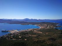 View of Golfo Aranci from Monte Ruju in Sardinia. Golfo Aranci view from Monte Ruju mountain, with a wonderful panorama Royalty Free Stock Photo