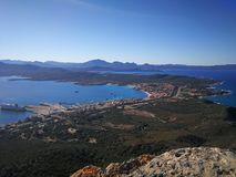 View of Golfo Aranci from Monte Ruju in Sardinia. Golfo Aranci view from Monte Ruju mountain, with a wonderful panorama Stock Images