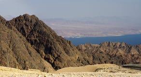 Golfo de Aqaba de los mountais de Eilat Fotos de archivo libres de regalías