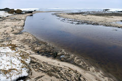 Golfo de Finlandia El acercamiento del invierno Foto de archivo