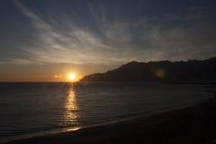 Golfo de Salerno en la puesta del sol Fotos de archivo libres de regalías