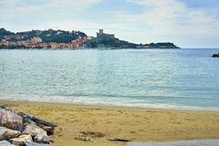 Golfo Dei Poeti Lerici em Sunny Day Panoramic View Taken de foto de stock