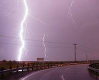 Golfo del Messico enorme dell'intercettore della tempesta di colpo di Bolt di fulmine Fotografie Stock