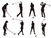 Golfowy gracz silhouette1 ilustracja wektor