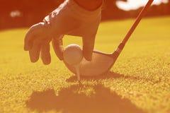 Golfowy gracz umieszcza piłkę na trójniku zdjęcie royalty free